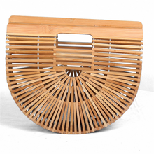 Load image into Gallery viewer, Stylish holiday style bamboo beach handbag