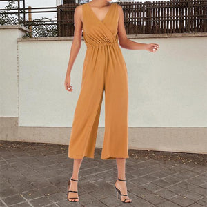 V-Neck Waist Strapless Straps With Solid Chiffon Jumpsuit