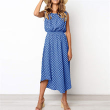 Load image into Gallery viewer, Sweet Polka Dot Printed Defined Waist Vacation Dress