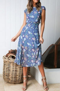 Round Neck Sexy Midriff Printed Fork Maxi Dress