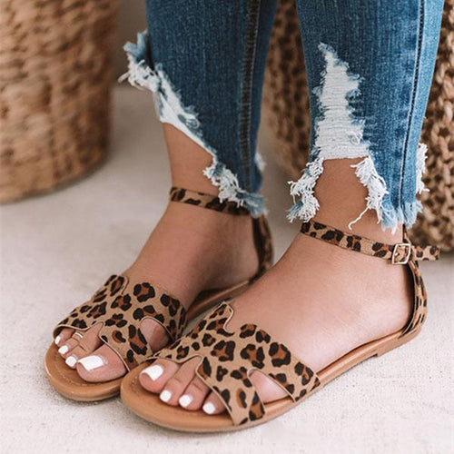 2019 Summer Fashion Women Low Heel Leopard Snake Print Sandals