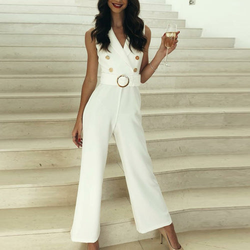 Fashion Casual Sleeveless V-Neck   Suit Belt Jumpsuit
