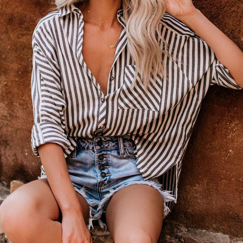 Fashion Cardigan Striped Pocket   Long Sleeve Shirt Top