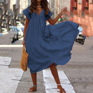 Loose Cotton And Linen V-Neck Casual Dress
