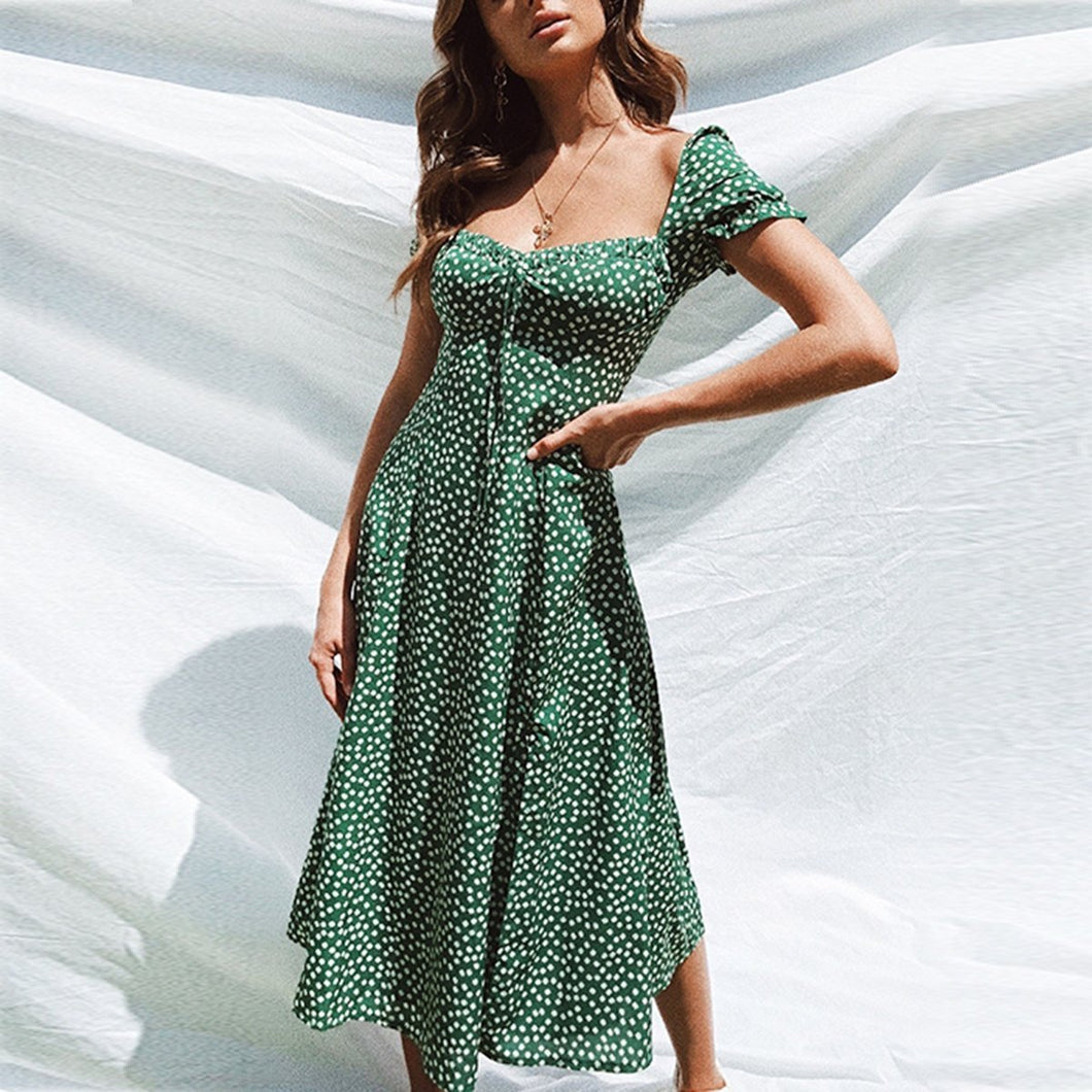 Square Collar Printed Puff Sleeve Midi Dress