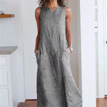 Load image into Gallery viewer, Casual Cotton Strip Sleeveless Loose Maxi Dress