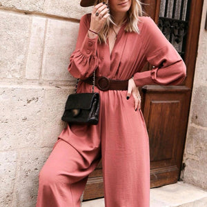 Casual Belt V-Neck Long Sleeve Jumpsuit