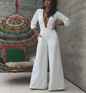 V-Neck Sexy Wide-Leg Jumpsuit