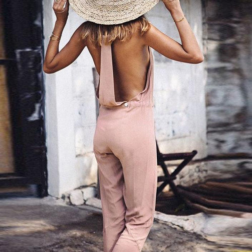 Fashion Casual Solid Color   Sleeveless V-Neck Jumpsuit