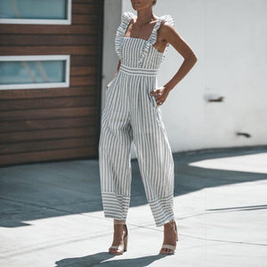 Fashion Casual Striped Jumpsuit