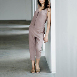 Casual V Collar Sleeveless Zipper Solid Color Jumpsuits