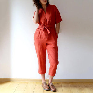 Daily V Collar Solid Color Drawstring Short Sleeves Jumpsuits