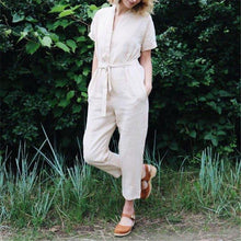 Load image into Gallery viewer, Daily V Collar Solid Color Drawstring Short Sleeves Jumpsuits