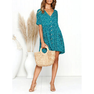 2019 Summer Print Leopard V-Neck Button Pocket Dress