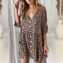 Load image into Gallery viewer, 2019 Summer Print Leopard V-Neck Button Pocket Dress
