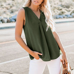 Summer Simplicity Sleeveless V Collar Loose Chiffon Top