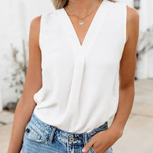 Load image into Gallery viewer, Summer Simplicity Sleeveless V Collar Loose Chiffon Top