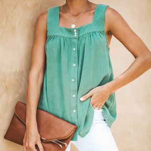 Casual Square Neck Wrinkle Loose Sleeveless Garment Top