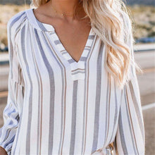 Load image into Gallery viewer, Casual V Colalr Strip Printed Long Sleeved Chiffon Loose Shirt