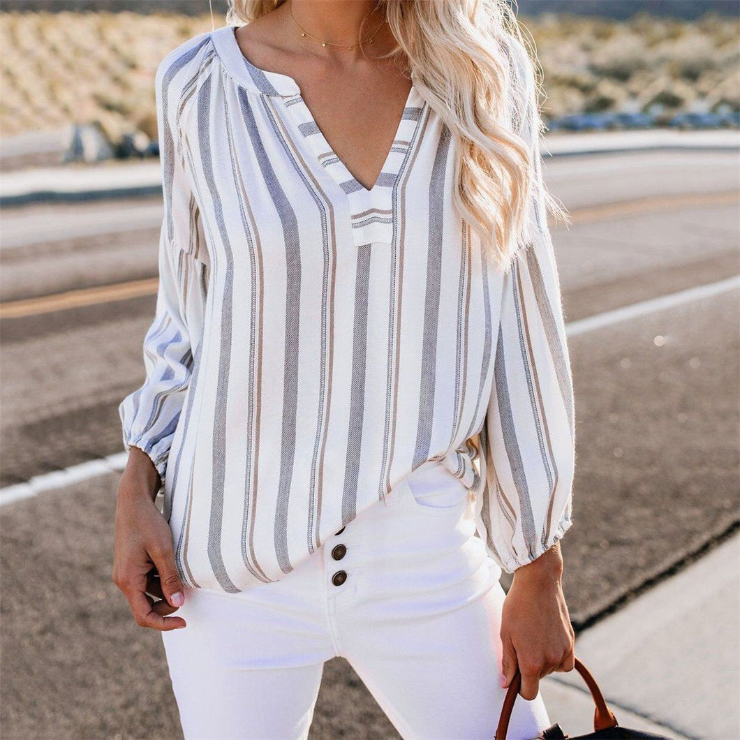 Casual V Colalr Strip Printed Long Sleeved Chiffon Loose Shirt