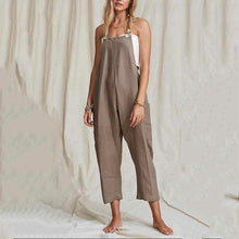 Load image into Gallery viewer, Button Pocket Solid Color Linen   Cotton Strap Jumpsuit