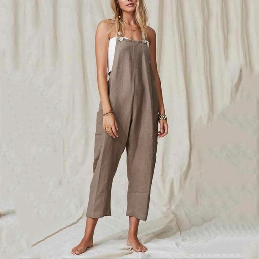 Button Pocket Solid Color Linen   Cotton Strap Jumpsuit