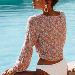 Fashion Single-Breasted Printed Tie Cropped Sleeves Short Top