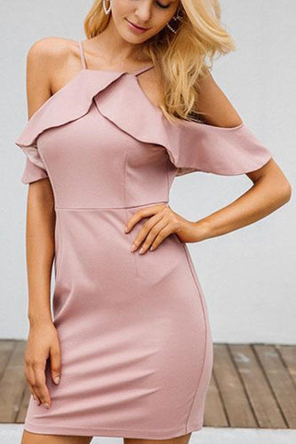 Ruffled Shoulder Bag Hip Solid   Color Party Strap Dress