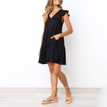 Load image into Gallery viewer, Solid Color V-Neck Loose Casual   Mini Dress