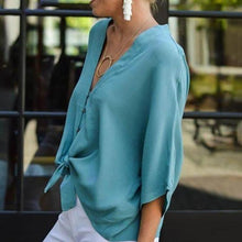 Load image into Gallery viewer, Casual V Neck Single-Breasted Batwing Sleeve Blouse