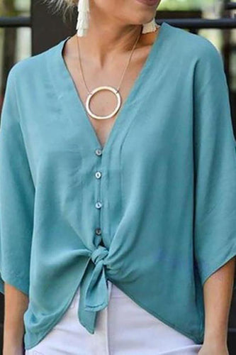 Casual V Neck Single-Breasted Batwing Sleeve Blouse