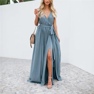 Solid Color V-Neck Sleeveless Big Swing Sexy Dress