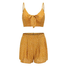 Load image into Gallery viewer, Holiday Bow Polka Dot Strap Top Loose Trousers Suit