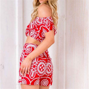 2019 New One-Shoulder Halter Print Top + Bag Hip Slim Shorts Suit