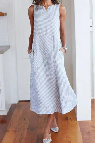 Casual Cotton Strip Sleeveless Loose Maxi Dress