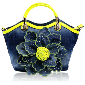 Denim Rose Flower Crossbody Bag