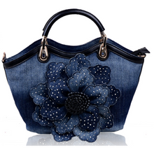 Load image into Gallery viewer, Denim Rose Flower Crossbody Bag