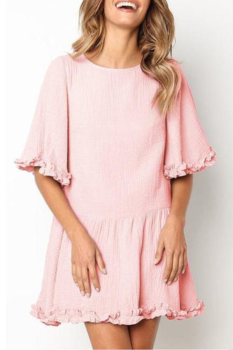 Half Sleeve Ruffle Low-Waisted Casual Pleated Mini Dress