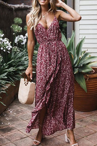 Sexy Floral Printed Elastic Waist Sling Sleeveless Dress