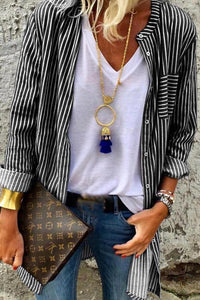 Cardigan Long Sleeve Striped Shirt