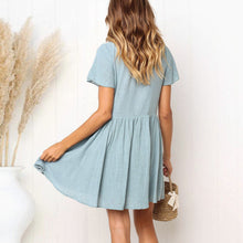 Load image into Gallery viewer, Casual Round Collar Plain Loose Shift Dress