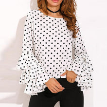 Load image into Gallery viewer, Round Neck  Geometric Plain Polka Dot Printed  Bell Sleeve Blouses