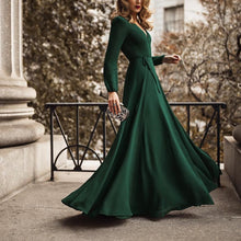 Load image into Gallery viewer, Fashion Green Long Sleeve Maxi Evening Dress