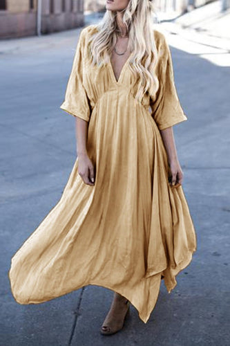 Fashion Sexy V-Neck Trumpet Sleeve Solid Color Dress