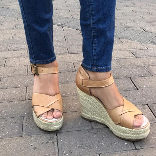 Fashion 2019 Women Summer High Heel Buckle Hollow Sandals