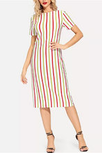 Load image into Gallery viewer, Fashion Stripe Printed Short Sleeve Bodycon Dress