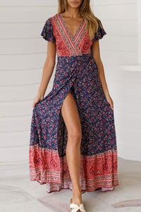 Bohemia Style Printed Belted Slit Vacation Dress