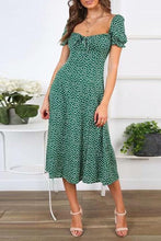 Load image into Gallery viewer, Square Collar Printed Puff Sleeve Midi Dress