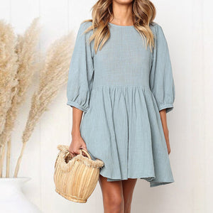 Half Sleeve A-Line Casual Slim Fit Mini Dress