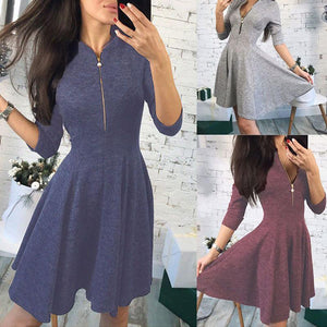 Sexy Zippered Small Stand Collar Sleeve Dress